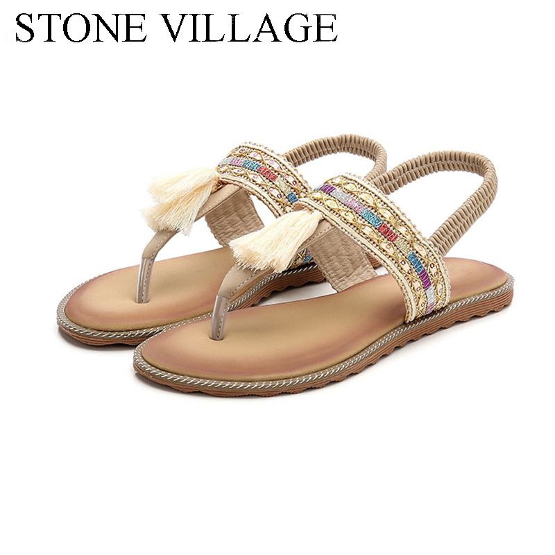 Summer Open Toe Flat Heels Women Sandals Casual Flip Flops Women Shoes Fringe Ankle Strap Bohemia Style Ethnic Beach Shoes women cork slipper flip flops sandals women mixed color bohemia thick bottom slides shoes open toe flat summer style plus size 8