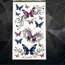3D Temporary Tattoo Butterfly Lace Designs Fake Flash Waterproof Tattoo Stickers 17x10CM Large Body Art ARm Tatoo Child Women