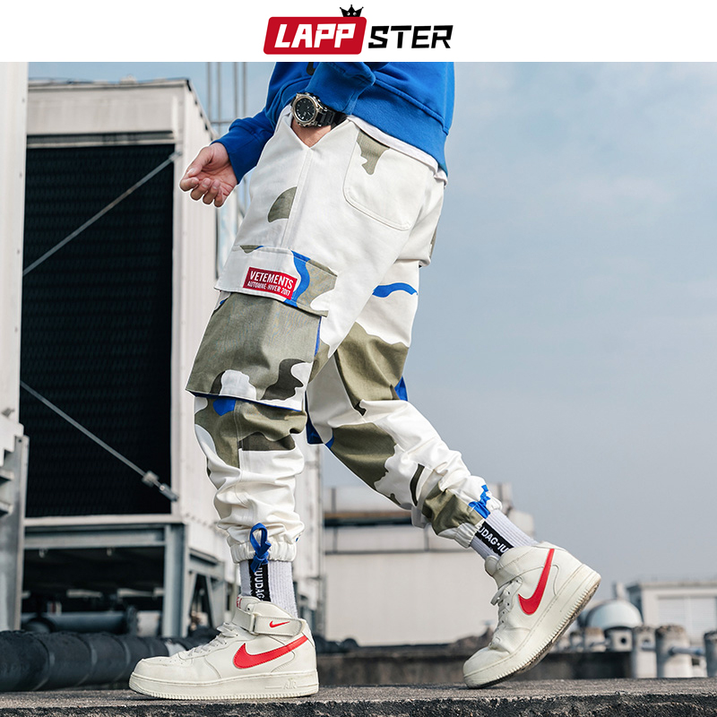 LAPPSTER Men Camouflage Cargo Pants Streetwear 2019 Overalls Mens Hip Hop Black Joggers Sweat Pants Camo Track Pants Trousers