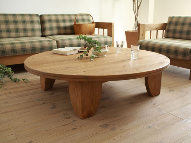 Solid Pine Wood Table Round 80cm Natural Painting Asian Living Room  Furniture Japanese Low Low Floor