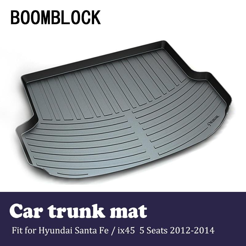 BOOMBLOCK For Hyundai Santa Fe ix45 5 Seats 2012 2013 2014 Waterproof Anti-slip Car Trunk Mat Tray Floor Carpet Pad Protector 5 seats 1 set customs car floor mat leather waterproof front