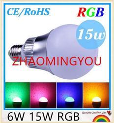 YON 6W 15W E27 (B22 /GU10/E14) RGB Светодиодная лампа освещения CE/RoHS 16 цветов Изменение с дистанционным управлением, бесплатная доставка