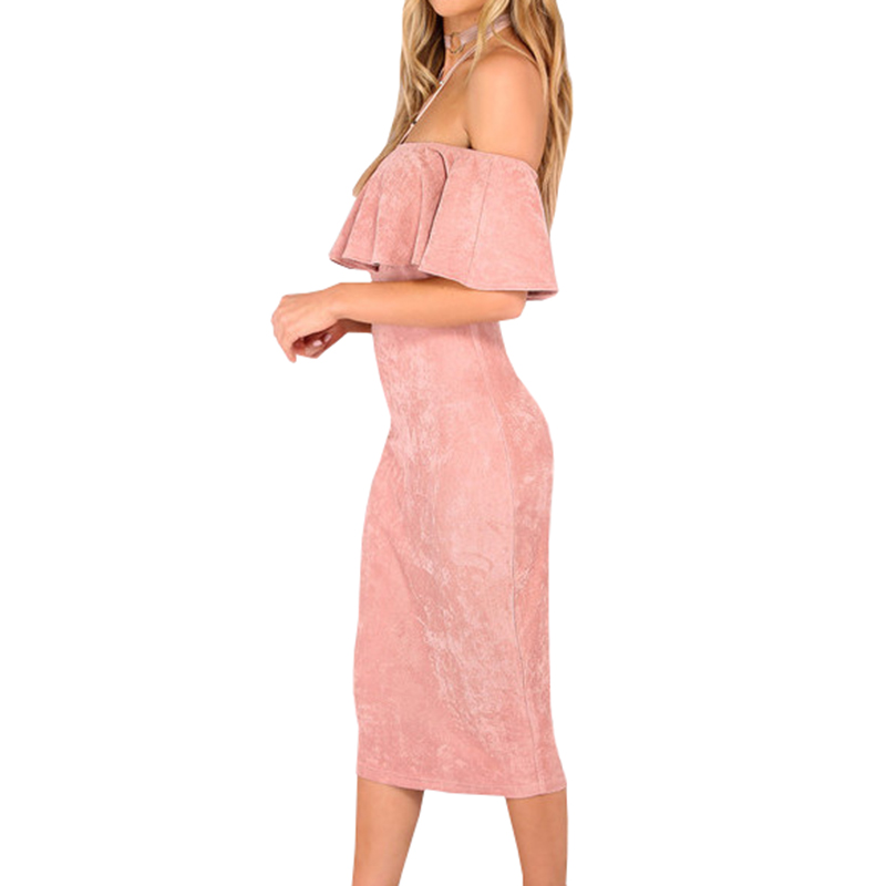 Women Party Dresses Elegant Evening Sexy Club Dresses Backless Midi Pink Faux Suede Off The Shoulder Ruffle Dress in Dresses from Women 39 s Clothing