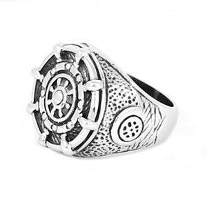 Мужское байкерское кольцо SWR0552A, классическое Винтажное кольцо из нержавеющей стали 316L с мотором якоря