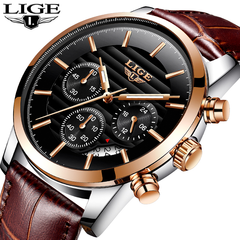 LIGE Fashion Mens Watches Top Brand Luxury Casual Sport Quartz Watch Men Leather Waterproof Business Watch Man Relogio Masculino weide popular brand new fashion digital led watch men waterproof sport watches man white dial stainless steel relogio masculino