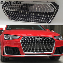 For Audi A4 B9 Diamond ABS Exterior Parts Front Bumper Mesh Grill Grids for Audi A4 B9 2016UP