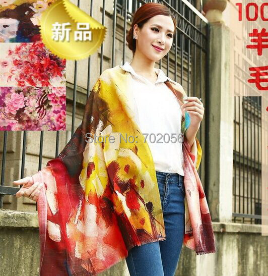 new arrival wool   wrap   poncho   scarf     wrap   shawl womens Printing   scarf   Fashion factory sale 180*65cm #3785