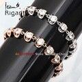 "A1-A011 Italina Rigant Fashion 0.35"" Width Chain Bracelet Bangle CZ 18KGP Jewelry"