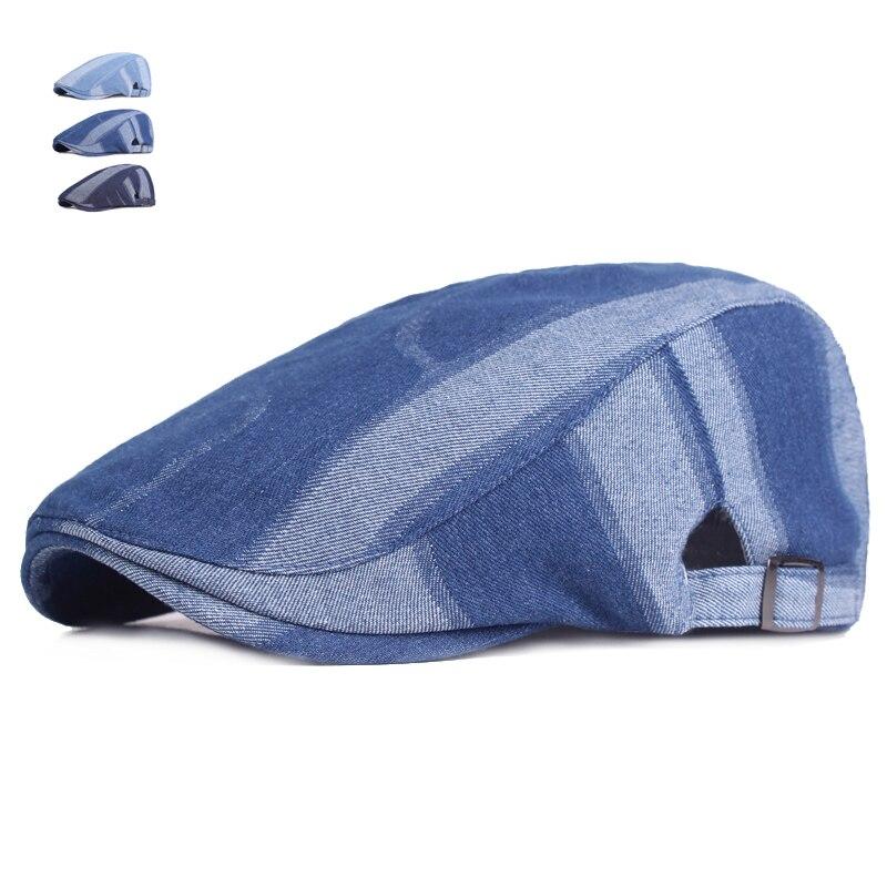 Solid Color Beret Women Men Adjustable Denim Flat Cap Casual Summer Newsboy Hat Jean Peaked Cap Duckbill Bonnet
