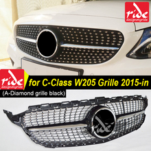 W205 Diamond Front grille ABS Black C-Class c180 c200 c250 c300 c350 c400 c63AMG sports edition radiator 2015-in
