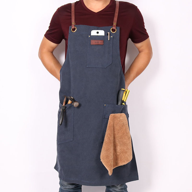 WEEYI Unisex Work Aprons For Men Women Kitchen Painting BBQ Chef Adult Apron Bib Leather Straps