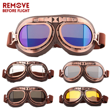 Motorcycle Goggles Vintage oculos motocross Motorbikes Eyewear For Pilot Aviator Moto Riding glasses UV Protection Copper