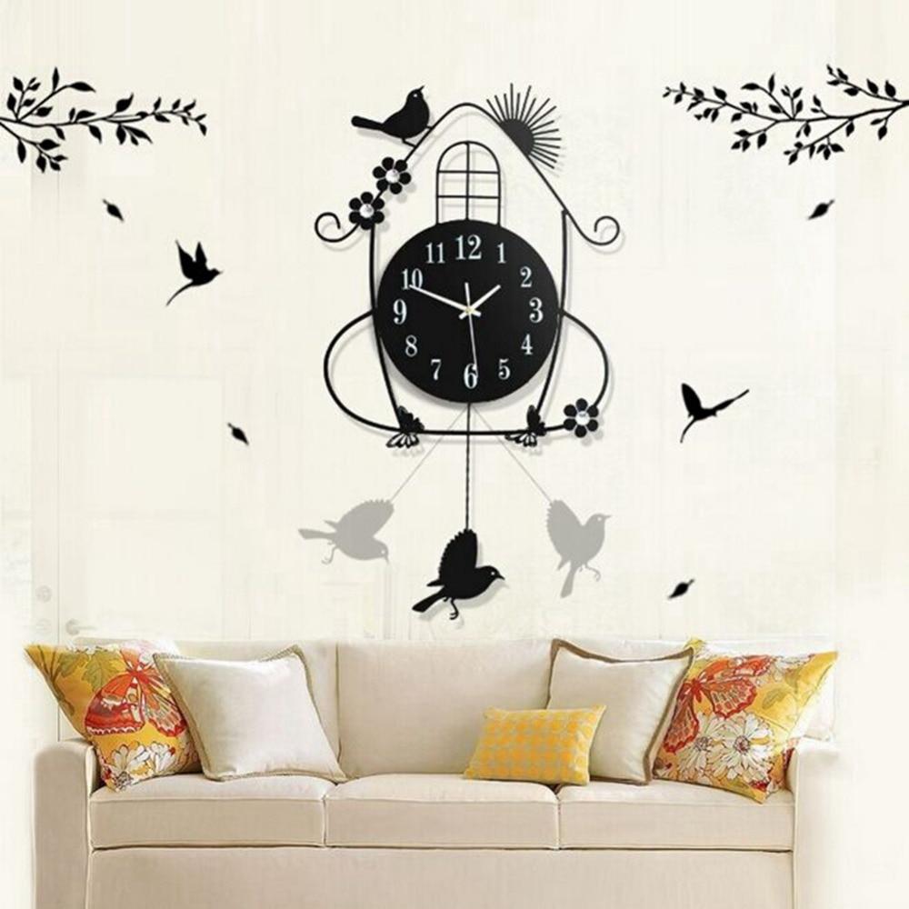 AsyPets Creative Living Room Wall Clocks Pastoral Bird Clock Black ...
