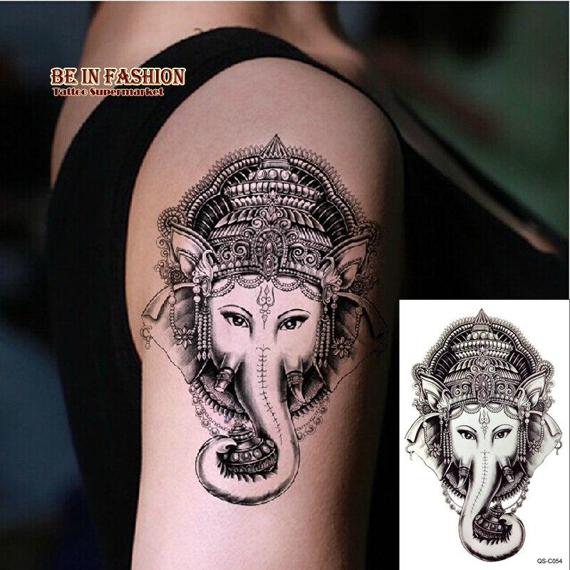 Aliexpress Com Buy India Elephant God Tattoos Cool: 1piece Indian Arabic Fake Temporary Tattoo Stickers The