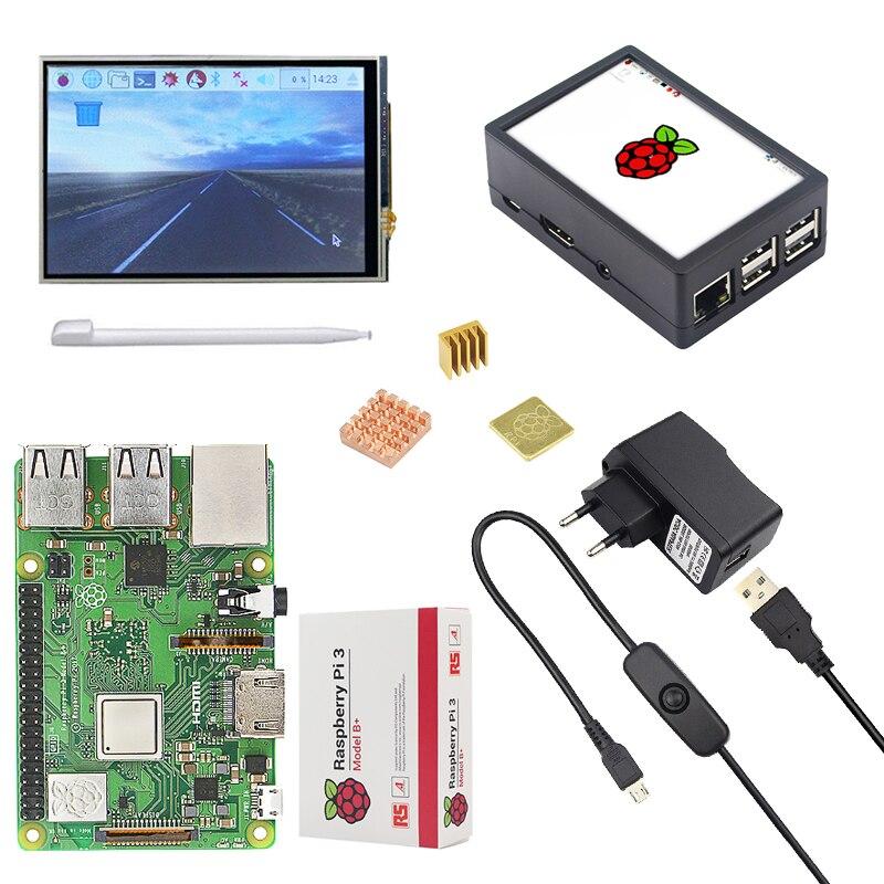 Original Raspberry Pi 3 Modèle B + (Plus) conseil + 3.5 pouces Écran Tactile + adaptateur secteur 1.4 GHz quad-core 64 peu Processeur WiFi & Bluetooth - 3