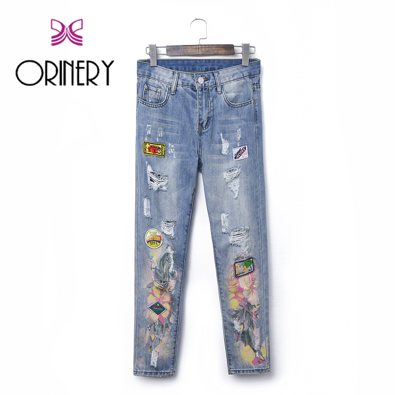 ФОТО ORINERY 3 Styles Hot Sale Ripped Jeans For Women High Quality Patches American Apparel Blue Denim Trousers Brand Pencil Pants