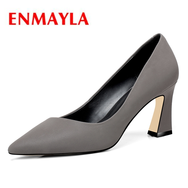 ENMAYLA Genuine Leather  Pointed Toe  Casual  Slip-On  Thin Heels  High Heels  Shoes Woman  Size34-39 ZYL2151ENMAYLA Genuine Leather  Pointed Toe  Casual  Slip-On  Thin Heels  High Heels  Shoes Woman  Size34-39 ZYL2151
