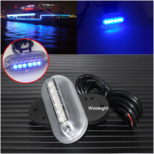 Wooeight 6 LED Underwater Fishing Light 12V Boat Night Light Water Landscape Blue Lamp For Marine Accessories Navigation Fishing