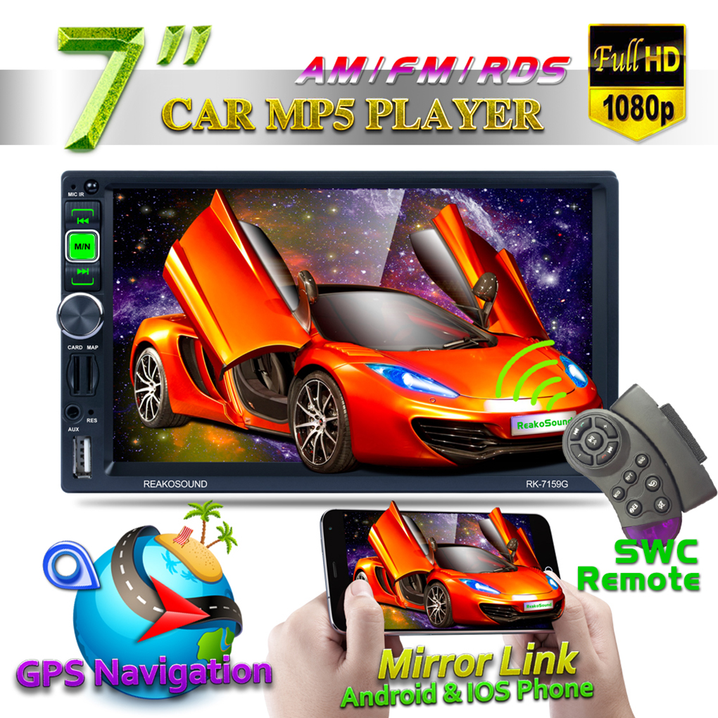 """7/"""" 2Din 1080P Car MP5 Player Touch Screen Android//IOS Mirror Link+Remote Control"""
