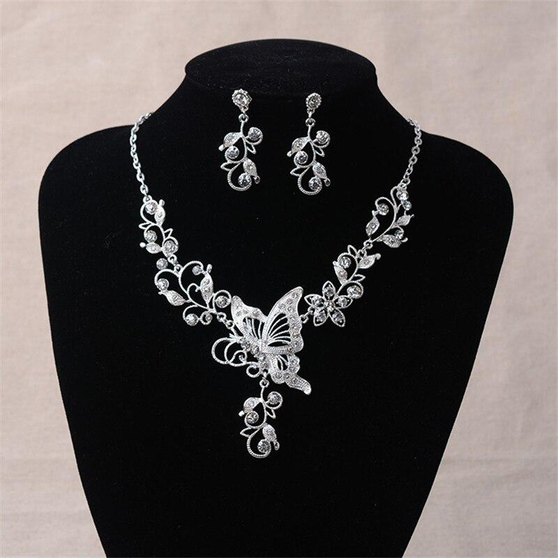 Wdding Jewelry Set Bride Rhinestone Jewelry Set Butterfly Choker Necklace Earrings Silver Plated Set of Fashion Jewelry