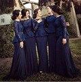 Barato de Manga Larga Royal Blue Lace Peplum dama de Honor Más Tamaño vestidos under 100 2016 vestido de festa Partido de La Gasa Acanalada vestidos