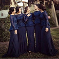 Cheap Long Sleeve Royal Blue Lace Peplum Plus Size Bridesmaid Dresses under 100 2016 vestido de festa Ruched Chiffon Party Gowns