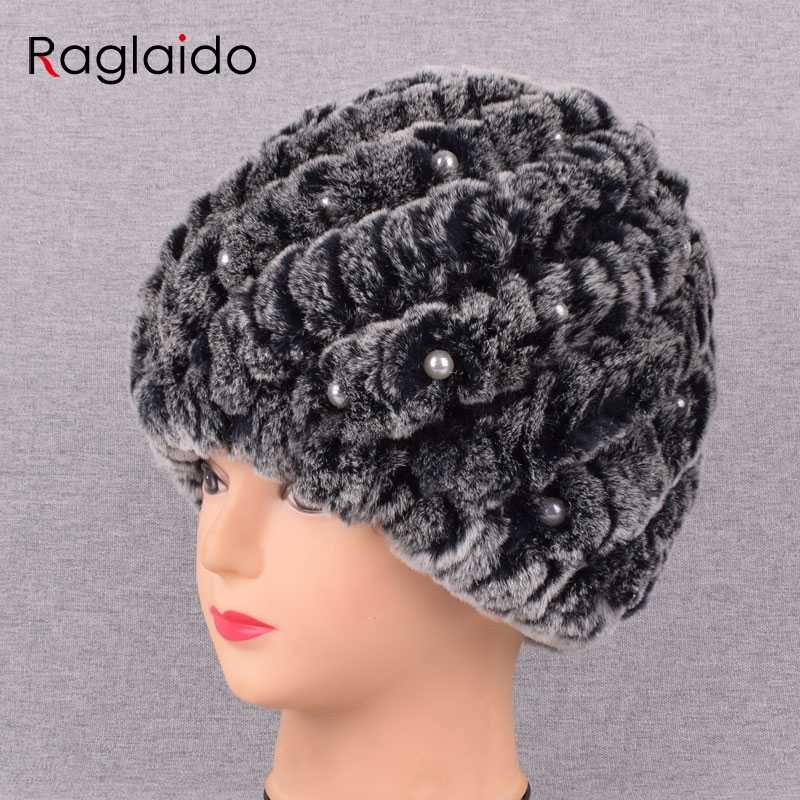 2b8f0028b299f ... New Pearl Rabbit fur hat for Women Russian Real Fur Knitted Cap Unique  design Winter Beanie ...