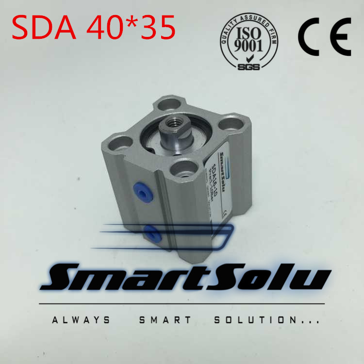 Free Shipping SDA 40x35 Double Action 40mm Bore 35mm Stroke Compact Air Cylinder SDA40-35 free shipping sda40 40 40mm bore 40mm stroke air compact cylinder