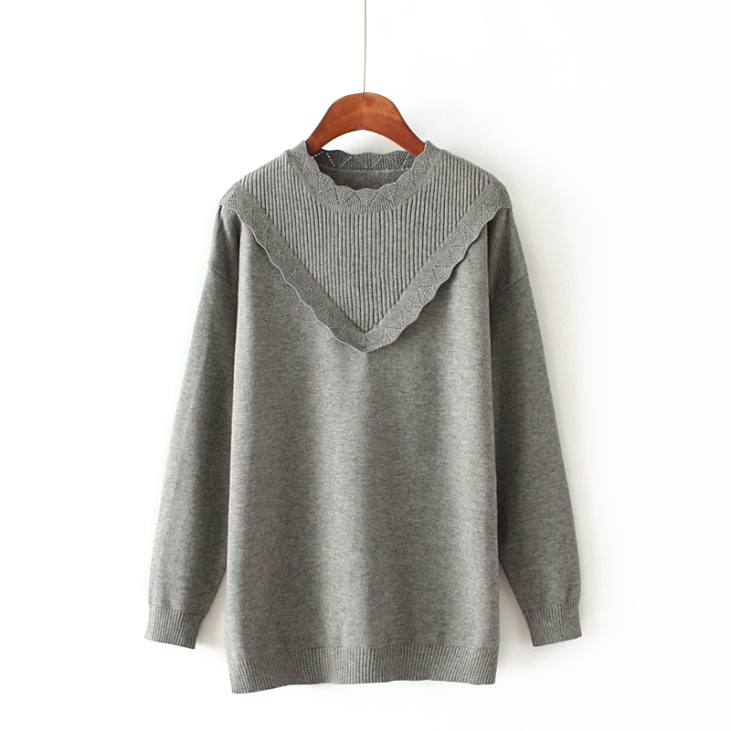 s1b Korean version of the new female was thin wild lace round neck solid color pullover