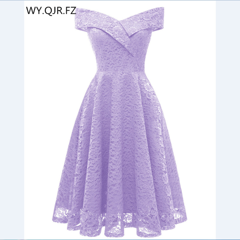 CD1610Z#Boat Neck Violet Short Lace Bridesmaid Dresses Wedding Party Dress Girl Gown Prom Wholesale Bride Wedding Toast Clothing
