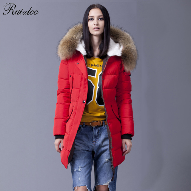 Ruiatoo 2016 Down Jacket Winter Jacket Women Natural Large Racoon Fur Collar Hooded Warm Thick Outwear Female 90% Duck Down Coat
