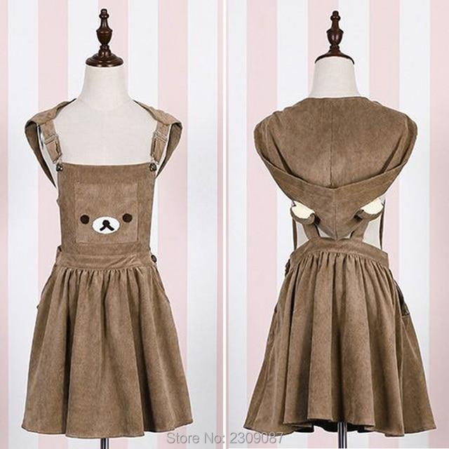 Bear Rilakkuma Straps Dress Lolita Braces Suspender Mori Girl Kawaii Dress School Clothes Vestido Ship From US Dropping Shipping 3