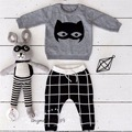 Ins hot-selling 2016 KIDS KNITTED  top sweater black+white plaid pants harem pants 2 PCS CLOTHING SETS  BABY BOY CLOTHES KIDS