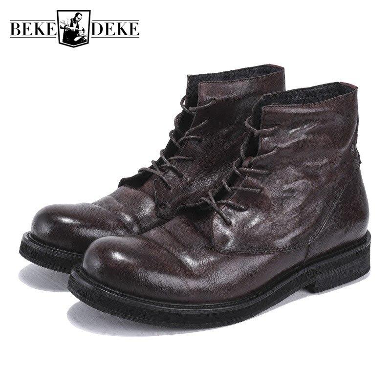 Echtes Leder Retro Arbeit Stiefel Männer Winter Sneakers Lace Up Luxus Trainer Britischen High Top Ankle Reitstiefel Beiläufige schuhe-in Basic Stiefel aus Schuhe bei  Gruppe 1