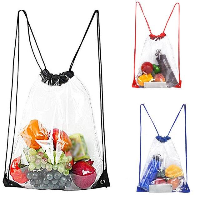 Dropshipping Hot Sale Fashion Drawstring Beach Bag Waterproof Transparent Bag  for Student School Bag Bagpack mochila