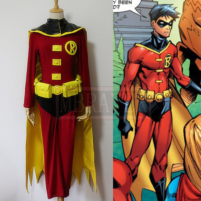 Batman DC Comics Justice League VS Teen Titans Damian Wayne Tim Drake Red Robin Cosplay Costume & Batman DC Comics Justice League VS Teen Titans Damian Wayne Tim ...