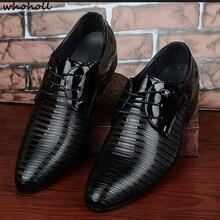 цена на WHOHOLL 2019 Leather Casual Men Shoes Fashion Men Flat Pointed-toe Comfortable Office Men Dress Shoes Dance Shoes Size 38-48