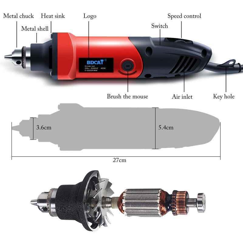 400W 220V BDCAT Dremel accessoires vitesse Variable Mini perceuse électrique meuleuse avec 6mm outil de meuleuse rotative arbre Flexible