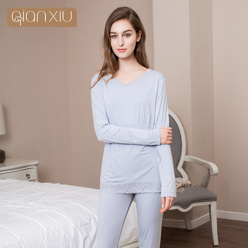 AQianqiu 2017 autumn ladies lace trim PJS make you feel relaxed and comfortable 91791A ...