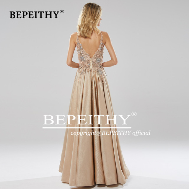 BEPEITHY Glitter Champagne Long Evening Dress Party Elegant Lace Bodice Sexy Open Back Prom Gown Vestido De Festa 2019 4