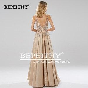Image 4 - BEPEITHY Glitter Champagne Long Evening Dress Party Elegant Lace Bodice Sexy Open Back Prom Gown Vestido De Festa 2020
