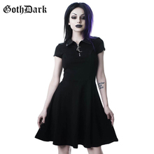 Goth Dark Grunge Aesthetic Vintage Pleated Evenging Party Dr