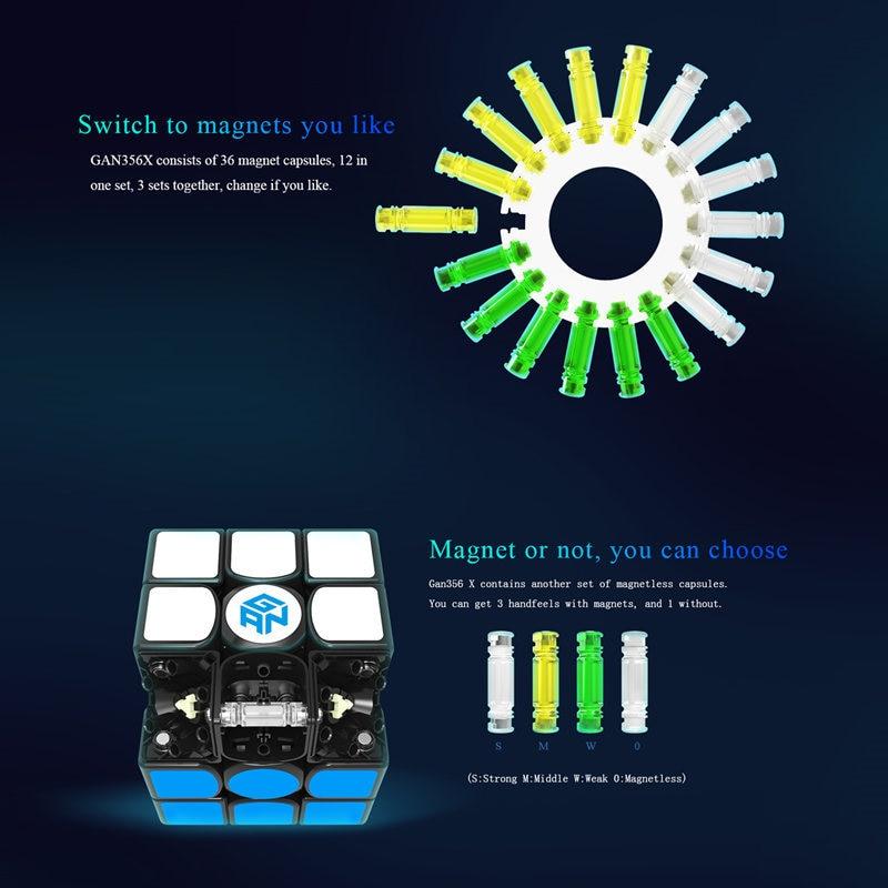 GAN 356 X Cubes magiques magnétiques professionnel Gan 356x Cube de vitesse aimants Cube Puzzle néo Cubo Magico gans 356 X jouets pour enfants - 5