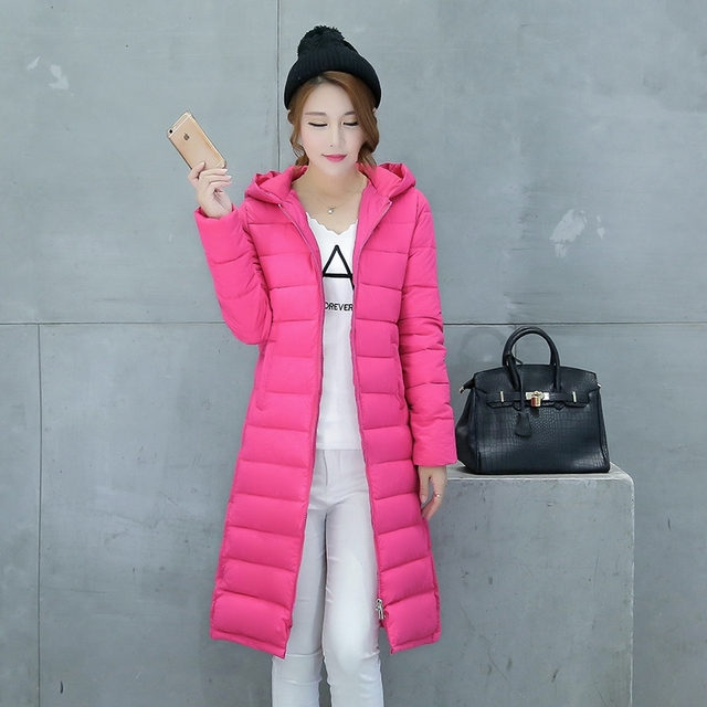 Hot new autumn and winter 2016 new coat Girls long paragraph large size Down cotton jacket Hoodie thin slim outerwear female