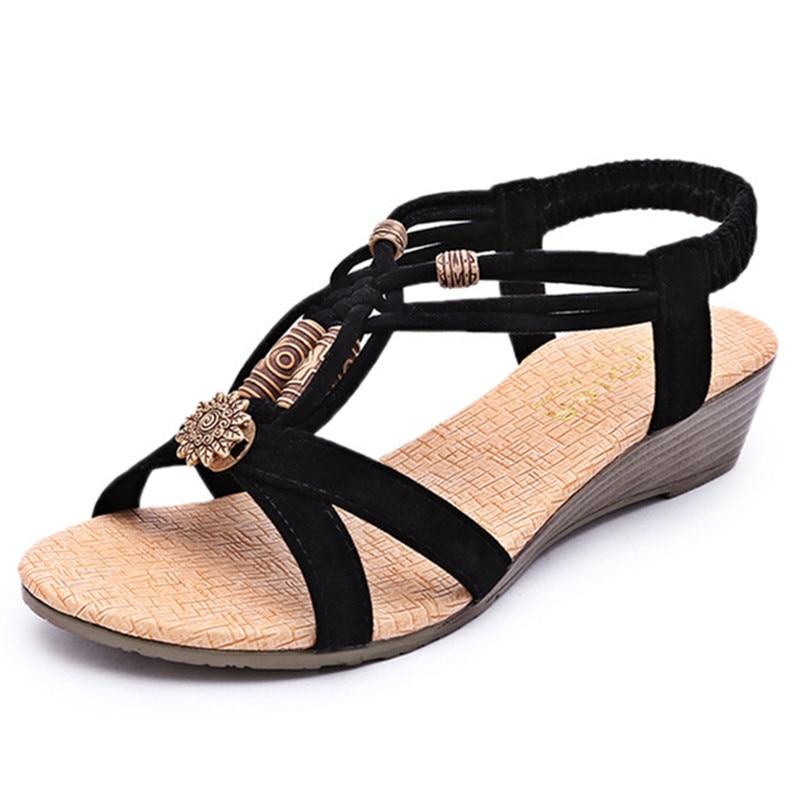 Bohemia Beads Fashion Wedges Women Sandals Elastic Band Comfortable Peep Toe Leisure Shoe 2018 New Hot Sale Summer Beach Sandals