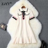 Preppy Style Summer Dress Women High Quality Runway Fashion Short Sleeve Bowknot Sweet Ruffle Hem Mini Dress Casual Vestidos