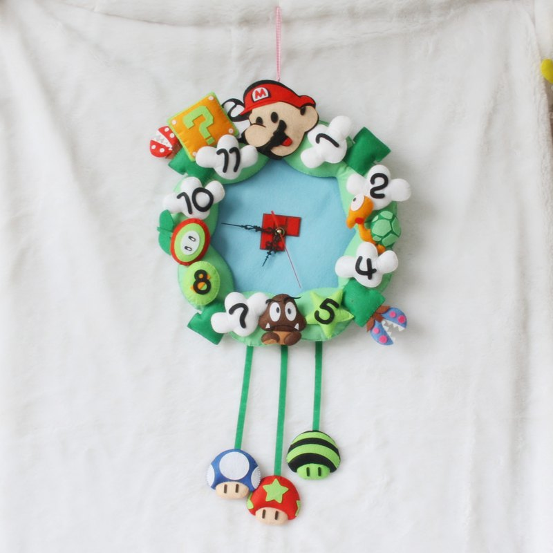 Japanese Game Rules Style Felt DIY Wall Clock Creative Practical Wall Clock Felt Applique Ornament Kit DIY Needle Craft