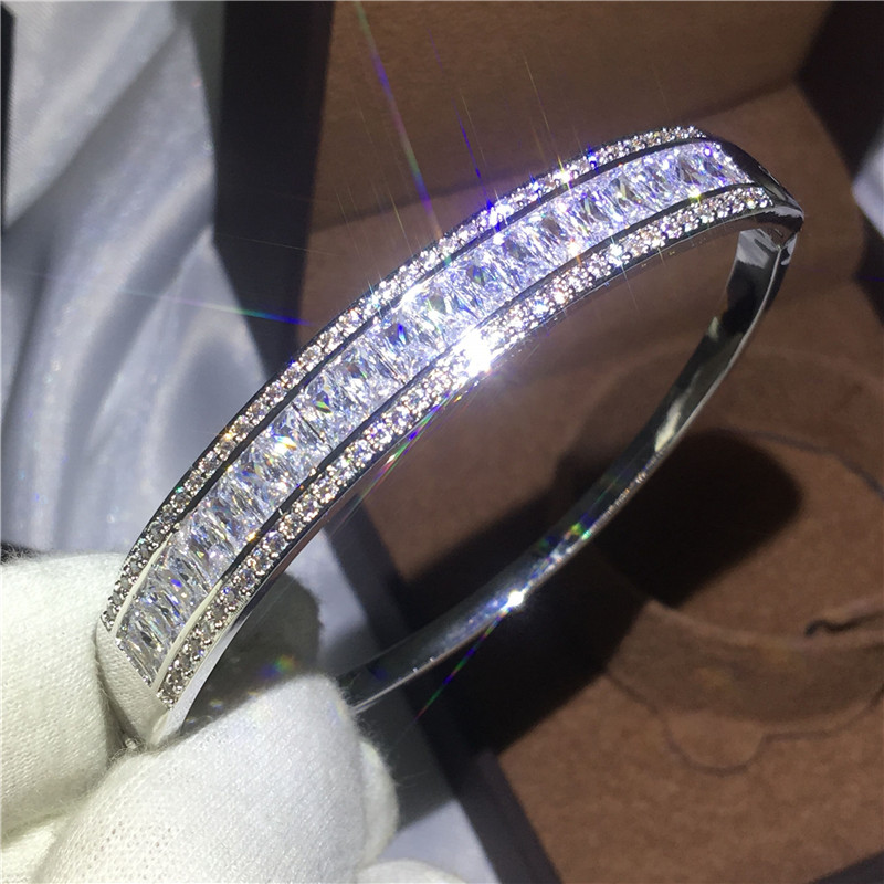Charm Female bracelet Princess cut 5A cubic zirconia White Gold Filled Party Engagement bangle for women wedding accessaries