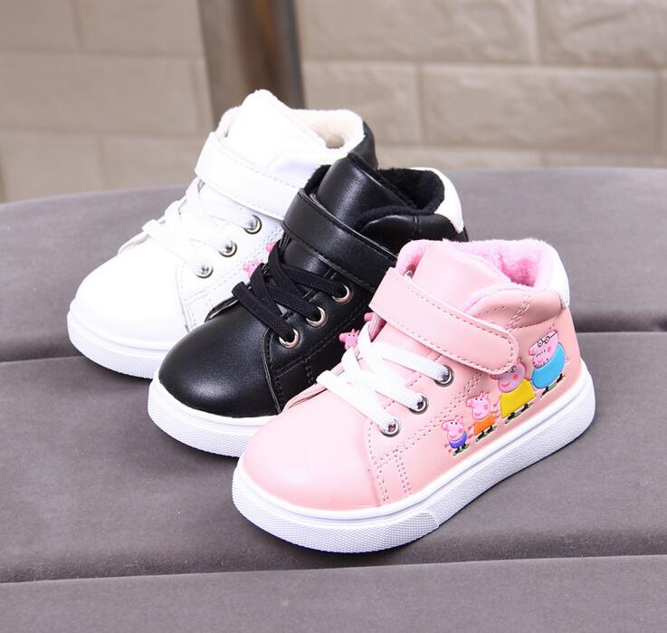 2018 New Winter Rubber Girls Boots Fashion Warm Children Shoes Girls Flock Leather Plush Platform Flat Sneakers Kids Boots 21-25