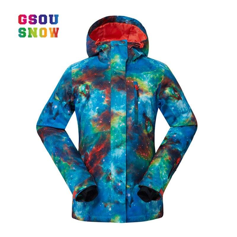 GSOU NEIGE Nouveau Thermique Femmes Anti-pilling Snowboard Manteaux Imperméable De Mode Coupe-Vent Femme vestes de ski Respirant Coton